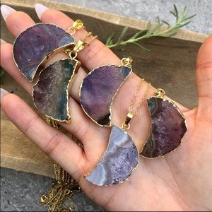 Raw 🌸amethyst🌸slice crescent🌛✨moon necklac…